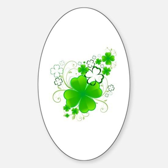 4 Leaf Clovers Sticker (Oval)