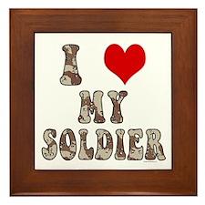 I Love (heart) My Soldier Framed Tile
