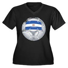 Argentina Futbol Women's Plus Size V-Neck Dark T-S