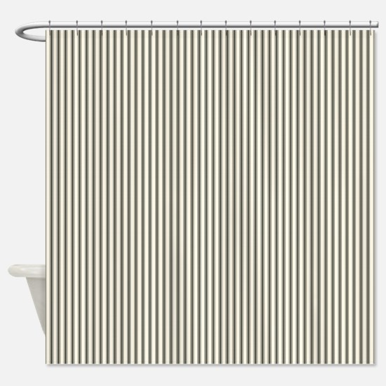 Black Ticking Shower Curtain