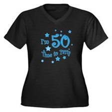 I'm 50 time to party Women's Plus Size V-Neck Dark