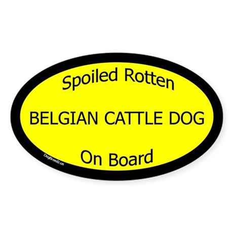 Spoiled Belgian Cattle Dog On Board Oval Sticker