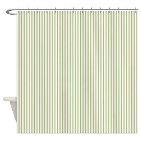 Green Ticking Shower Curtain By Admin Cp3083734