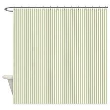 Green Ticking Shower Curtain