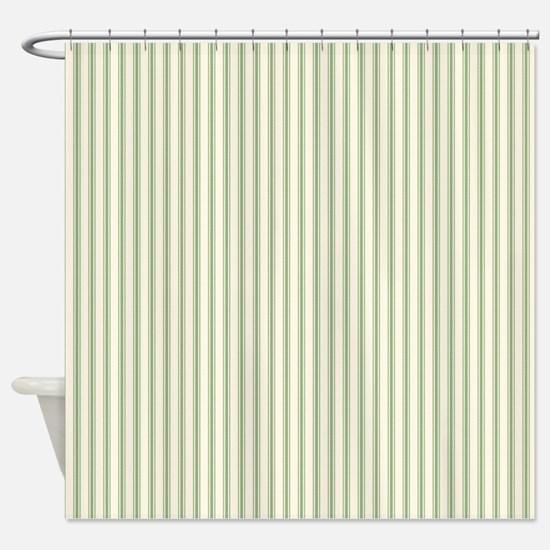 Green Ticking Shower Curtain