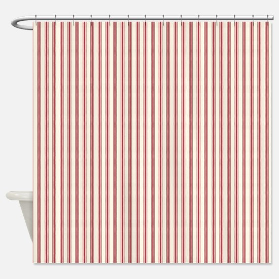 Red Ticking Shower Curtain