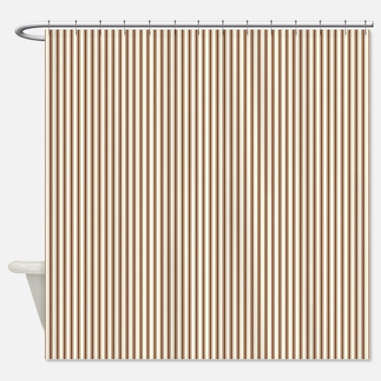 Brown Ticking Shower Curtain