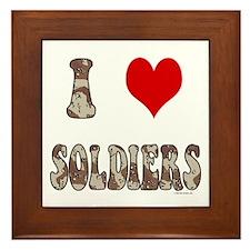 I Love (heart) Soldiers Framed Tile