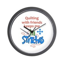 QUILTING WITH FRIENDS Wall Clock