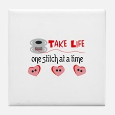 ONE STITCH AT A TIME Tile Coaster