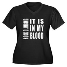 Rock Climbin Women's Plus Size V-Neck Dark T-Shirt