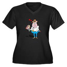 The Huggable Luv Hog Women's Plus Size V-Neck Dark