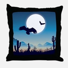 Night In the Desert Prairie with Cactuses Throw Pi