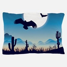 Night In the Desert Prairie with Cactuses Pillow C