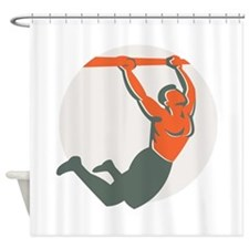Crossfit Pull Up Bar Circle Retro Shower Curtain