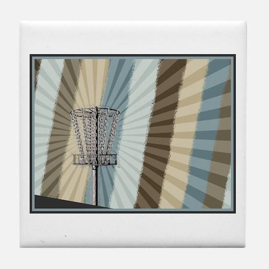 Disc Golf Basket Graphic Tile Coaster