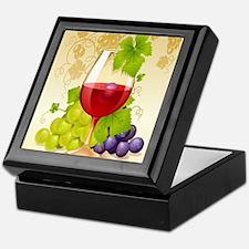 Wine Glass and Grape Vines Keepsake Box
