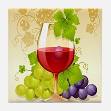 Wine Glass and Grape Vines Tile Coaster