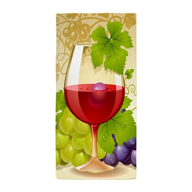 Wine Glass And Grape Vines Beach Towel By Wickeddesigns4
