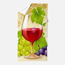 Wine Glass and Grape Vines Beach Towel
