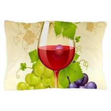 Wine Glass and Grape Vines Pillow Case