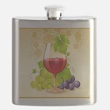 Wine Glass and Grape Vines Flask