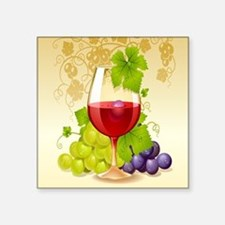 Wine Glass and Grape Vines Sticker