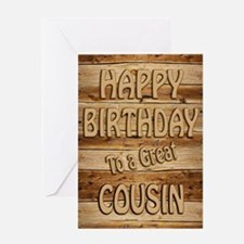 A carved wooden look birthday card for a cousin Gr