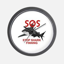 SOS STOP SHARK FINNING Wall Clock
