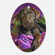 Green Eyes, chocolate labrador puppy Oval Ornament