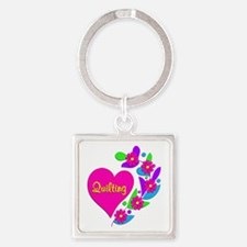 Quilting Heart Square Keychain