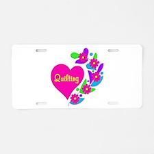 Quilting Heart Aluminum License Plate