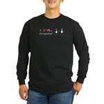 I Love Penguins Long Sleeve Dark T-Shirt