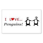 I Love Penguins Sticker (Rectangle 10 pk)