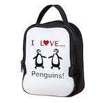 I Love Penguins Neoprene Lunch Bag