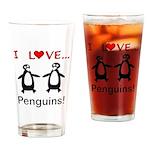 I Love Penguins Drinking Glass