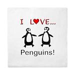 I Love Penguins Queen Duvet
