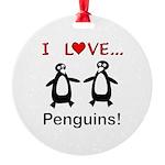 I Love Penguins Round Ornament