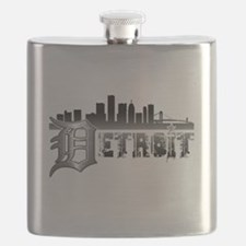 Detroit Skyline Flask