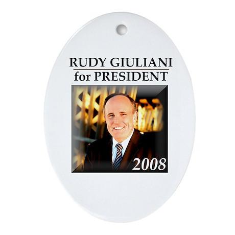 Rudy Giuliani for President '08 Oval Ornament