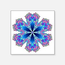 "BUTTERFLY BLUE MANDALA Square Sticker 3"" x 3"""