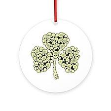 St Patricks Day Shamrock Skulls Round Ornament