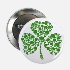 "St Patricks Day Shamrock Skulls 2.25"" Button"