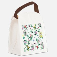 Delicate Floral Pattern Canvas Lunch Bag