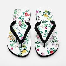 Delicate Floral Pattern Flip Flops