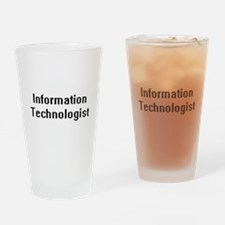 Information Technologist Retro Digi Drinking Glass