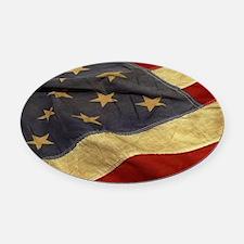 Distressed Vintage American Flag Oval Car Magnet