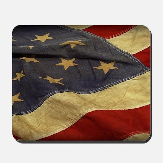 Distressed Vintage American Flag Mousepad