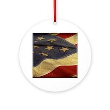 Distressed Vintage American Flag Ornament (Round)