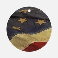 Distressed Vintage American Flag Ornament (Round)